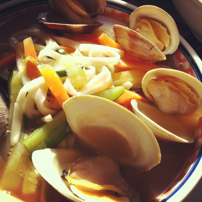 Clams go in noodles